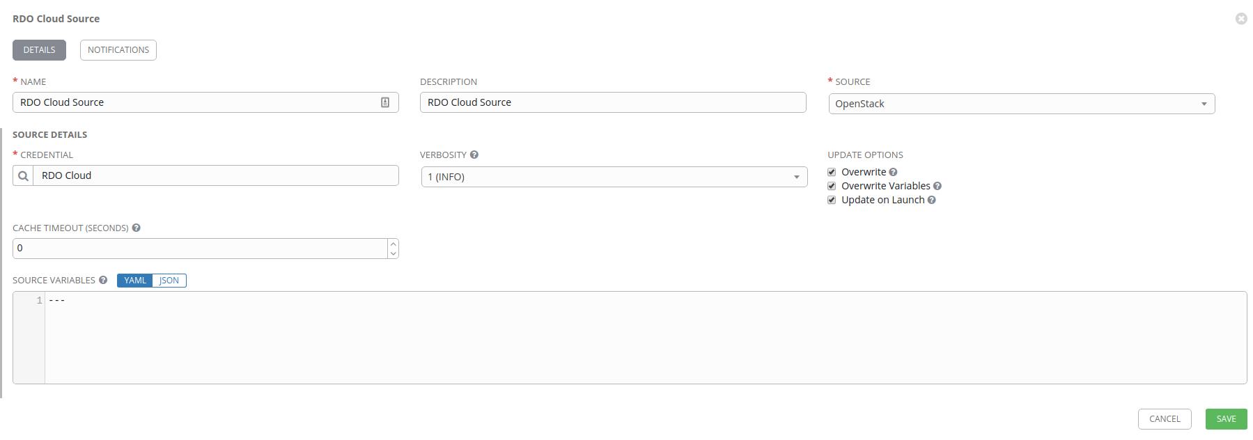 RDO Cloud source configuration