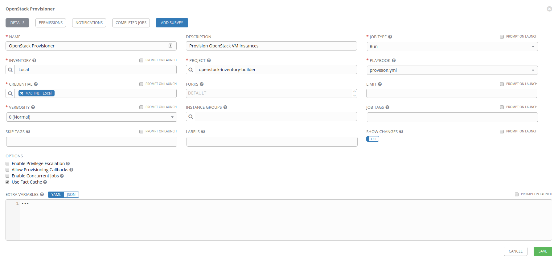 OpenStack Provisioner job configuration