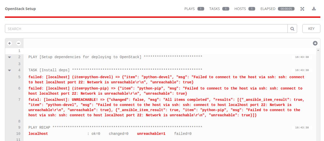 Failed OpenStack Setup job run