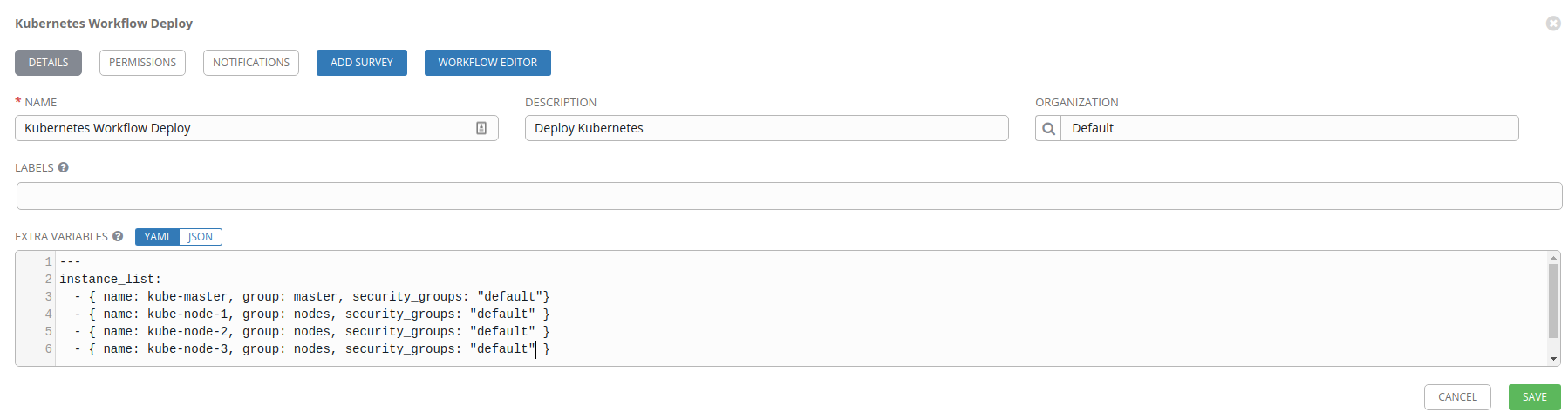 Kubernetes workflow template configuration